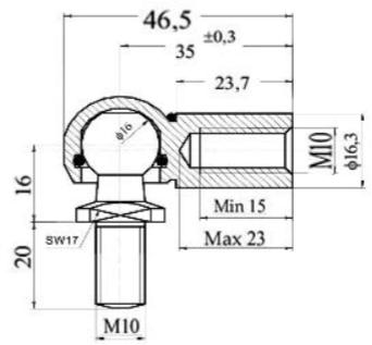Rótula metálica espiga/bola