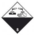 Placa de señalización ADR sustancias corrosivas