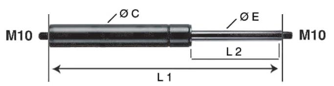 Amortiguador de gas M10